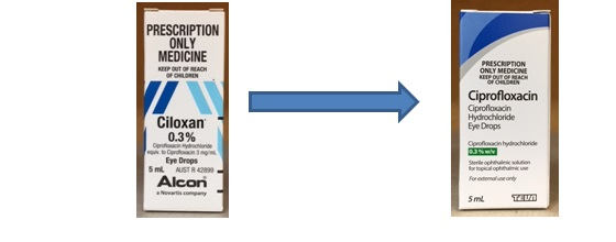 Early Notification Brand Change Ciprofloxacin Eye Drops 0 3